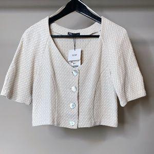 Zara Cropped tweed top